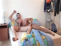 Horny homo dad wakes up and penetrates sweet ass young lad toy