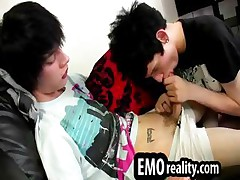 Emo twinks pleasure every other with blowjobs and rimjobs