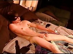 Auto CBT, youthful dude punishes his own balls and tits.